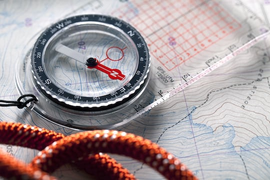 A map and a compass.